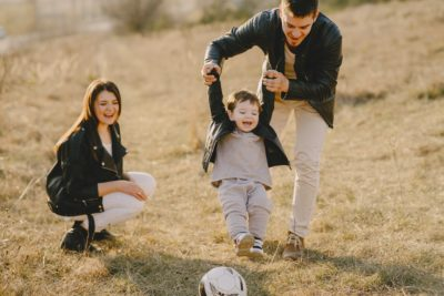 Family on a field